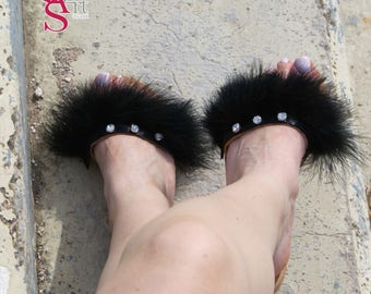 Leather Slippers, Leather Slide Sandals, Luxurious Sandals, Rhinestones Sandals, Feather Sandals, Black Flat Sandals