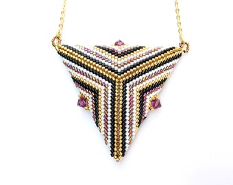 Peyote Triangle Pendant , Seed Bead Pendant , Beaded Necklace , Purple White and gold Triangle , Geometric bead Pendant , Triangle Necklace