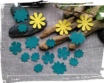 17 flowers in lime green and Emerald, genuine leather jewelry making, accessories hair, key ring.
