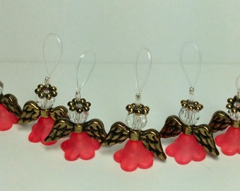 Angel Stitch Markers for Knitting - Set of Six in Peach and Goldtone