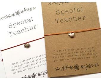 Wish Bracelet / Special Teacher / Teacher Gift / Special Teacher Gift / Thank you teacher / best teacher / apple wish bracelet