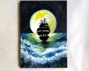Fantasy,Full Moon,Starry Night Sky,Ocean Waves,Pirate Ship,Full Moon,Sea,Mermaids,Abstract,Wall decor,ORIGINAL,Oil Painting *Black Pearl*