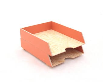 Desk Organizer Paper tray Orange 2 Stages, Desk set, Desk Tray Wood Office Accessories, Paper sorter, Paper storage for desk organizer