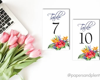 Tropical Wedding Reception Table Numbers | Wedding Reception Decor | Table Decor | Reception Table Centerpieces | Printable File