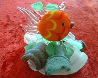 BEACH GLASS Sculpture/Paperweight Sea Glass #164 with ORANGE fish-Free Shipping