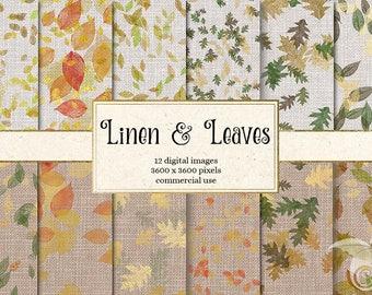 Linen and Leaves digital paper - autumn burlap linen, fall leaf, autumn falling leaves, autumn wedding, rustic wedding papers, scrapbooking