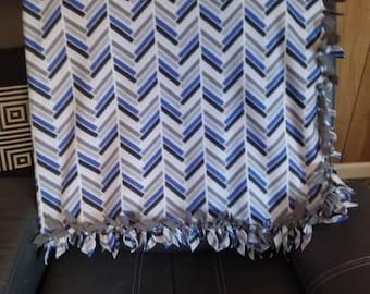 Royal Blue & Grey fleece blanket
