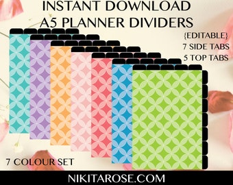 A5 Planner Dividers   Text Editable   Cut Away Rounded Tabs  Printable   Half Size   CIRCLES   Stationary   Organiser   Personalised Binder