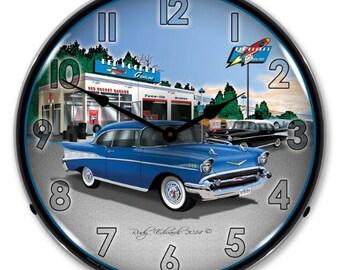 """Antique Style """" 1957 Bel Air Rocket Gas  """" Backlit Clock"""