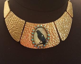 Crow raven glass cameo bib necklace