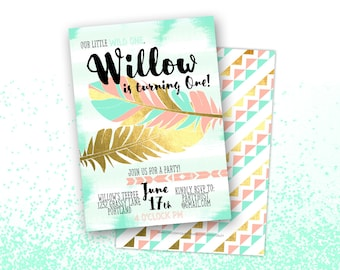 Boho Chic Birthday Invitation, Printable Digital File JPG or PDF, Aztec Wild One, First Birthday, Sweet 16 Sixteen, Gold Foil, Girl