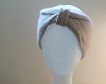 Wool Headband, Wool Ear Warmers, Upcycled Head Band tan or taupe