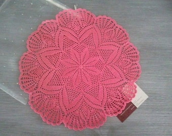 napperon fleur crochet rose