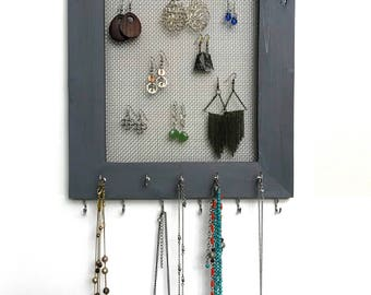 Rustic Frame Jewelry Organizer, Earring Storage, Necklace Hanger, Earring Frame, Jewelry Storage, Earring Display