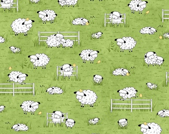 Grazing Sheep - Green 25750H by Quilting Treasures Cotton Fabric Yardage