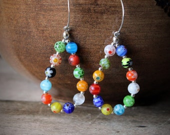 EARRINGS:  Colorful Earrings, Casual and Fun Earrings, Sterling Silver, Beaded Hoop Earrings, Rainbow Earrings, Handcrafted, Artisan Quality