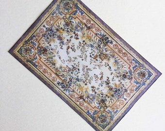 Miniature Floral Aubusson Rug Blue and Gold