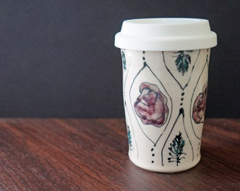 Flower Pottery To Go Cup - Ceramic Floral Commuter Mug with Lid - Handmade Pottery Travel Cup - Gift for Her