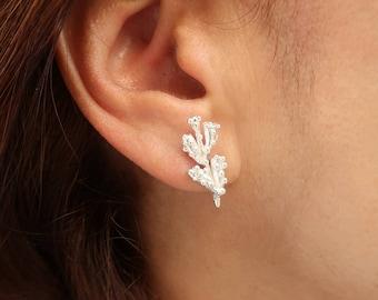 Sterling Silver Branch Earrings, Silver Earrings, Nature Earrings, Handmade Earrings, Twig Stud Earrings,  Stud silver Earrings, Fine Silver