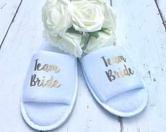 Team Bride | Bridal slippers | Hen Party Slippers | Bridal Party | Wedding Slippers | Personalised Spa Slippers | Spa Slippers | Gift