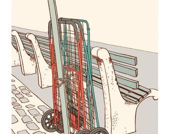 Brooklyn- Chained Cart, Print, 8x10