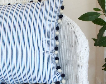 Blue Striped Linen Union Cushion with Navy and Cream Pom Pom Trim