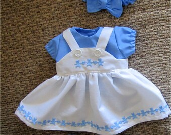 """Bitty Baby - Blue and White Jumper with Teddy Bear Trim, Shirt, Headband & Booties Fits Bitty Baby or Other 15"""" Baby Doll"""