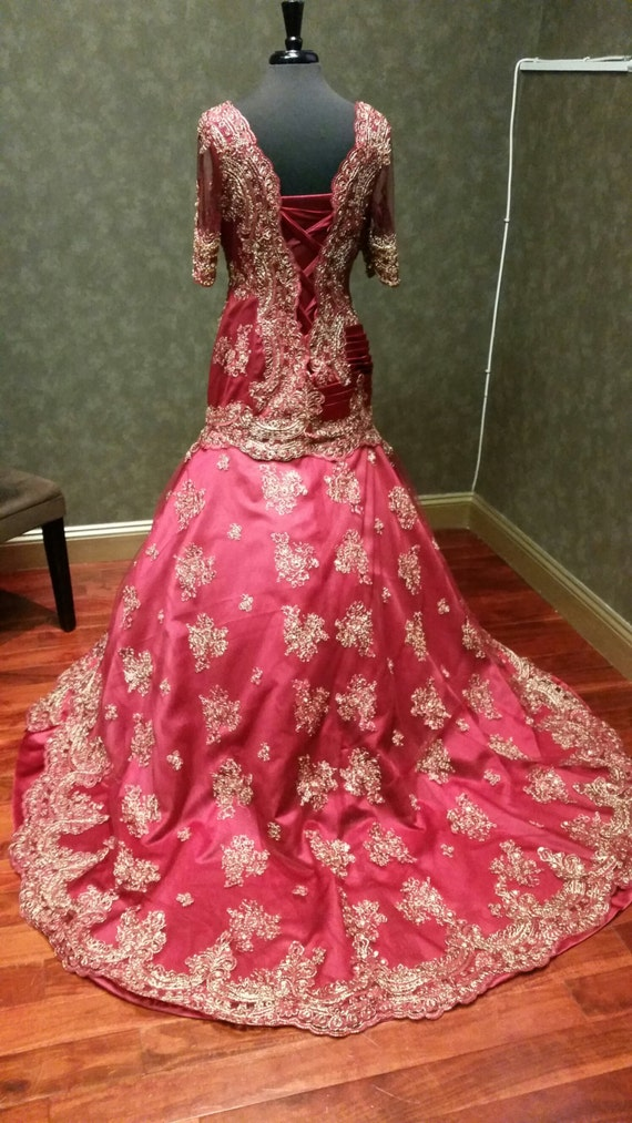 Dark Red and Gold Wedding Dress Indian Inspired