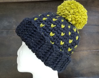 Little Hearts PomPom Beanie, Crocheted with acrylic/wool blend yarn, Large adult, Black with Bright grass Green accent