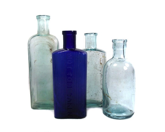 English Antique Glass Blue and Aqua Bottle Collection