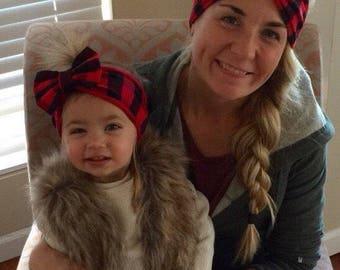 Mommy and Me Headbands/ Buffalo Plaid turbans/ Adult turban