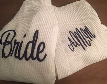 Monogrammed Navy Bridesmaid Robe, Personalized Bridesmaid Robe, Navy Robe, Bridal Party Robe, Waffle Weave Robe, Bridesmaid Gift, Bride Robe