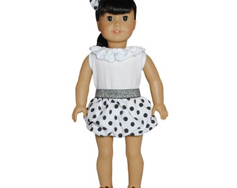 White Polka Dots Dress with headband for 18 inch dolls