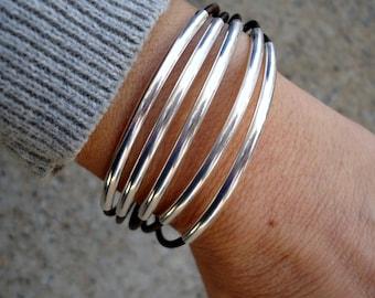Leather Bracelet, Sterling Silver Tubes Bracelet, Leather Cuff, Silver Cuff, Women's Bracelet