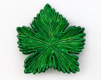42mm Green Lucite Leaf Pendant #UP679