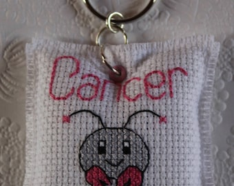Key fob embroidered, sign Zodiac-Cancer