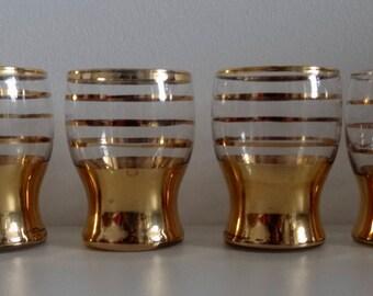 Vintage 1960s Goldleaf Madmen Style Aperitif-Digestif-Shot Glasses