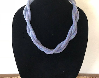 Mesh tube necklace with seed beads inside