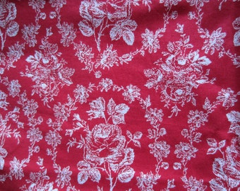 Red and White Print Flowers Cotton Fabric, Red and White Quilting Cotton Fabric, Red and White Floral Fabric