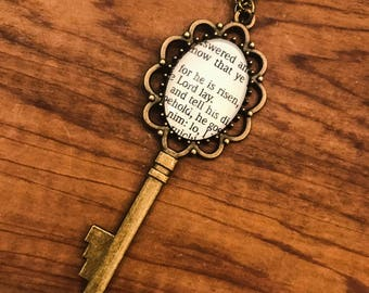He Is Risen Bible Page Necklace