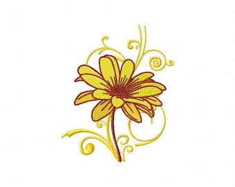 Machine Embroidery Design -  Flower #12 - Yellow Daisies