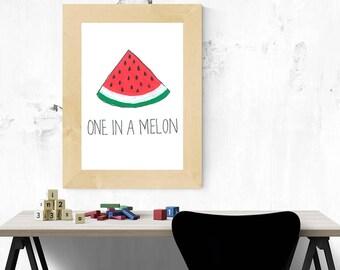 Art Illustration imprimer un dans un Art mignon drôle de Melon