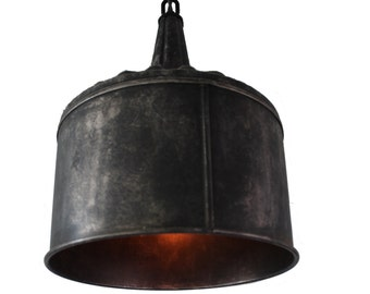 Large Funnel Pendant Light in Black Steel or Galvanized Aged Zinc FREE SHIPPING