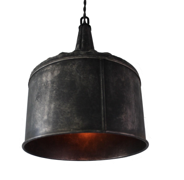 Funky Rustic Galvanized Pendant Light Via Etsy: Large Funnel Pendant Light In Black Steel Or Galvanized Aged