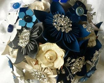Kusudama Brooch Paper flower Wedding Bridal Bouquet Blue, Navy & Cream