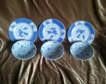 Set of 3 Mismatched Asian Blue and White Plates and Bowls...Free Shipping!