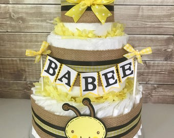 Bumble Bee Diaper Cake, Babee Baby Shower Centerpiece