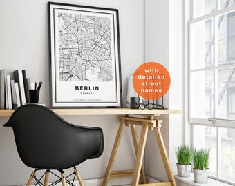 Berlin Map, Berlin City Map, Berlin Map Print, Berlin Print, Berlin Poster, Map Of Berlin, Printable Berlin Map Art, Berlin Map Wall Art