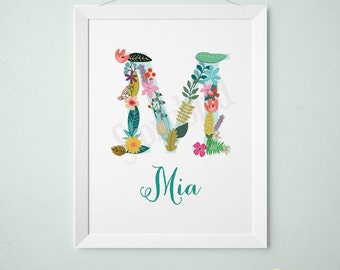 Personalized Baby Gift - Baby Name Wall art -  Customized initials print - Vintage floral letters - Nursery Wall Print - Art baby (2030)