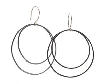 Oxidized Silver Double Hoop Earrings